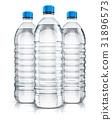 Group of plastic drink water bottles 31896573