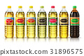 Set of plasic bottles with vegetable cooking oils 31896575