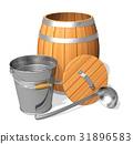 Wooden barrel and metal bucket 31896583