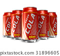 Set of cola drinks in metal cans 31896605