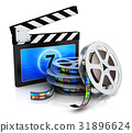Clapper board and film reel with filmstrip 31896624