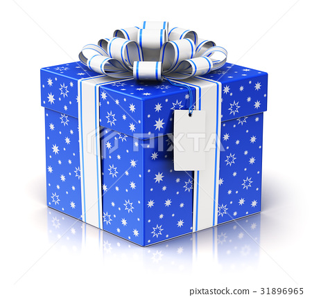 gift or present box with ribbon bow and label tag