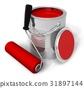 Can with red paint and roller brush 31897144