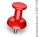 Red pushpin 31897159