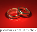 Wedding rings on red 31897612