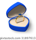 Blue heart-shape box with golden ring with jewels 31897613