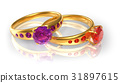 Golden wedding rings with jewels 31897615