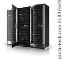 Server racks with open door 31897629