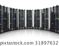 Row of network servers in data center 31897632