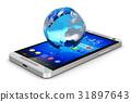 Earth globe on smartphone 31897643
