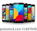 Collection of modern touchscreen smartphones 31897648