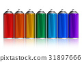 Set of rainbow paint spray cans 31897666