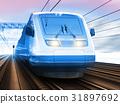 Modern high speed train in winter 31897692