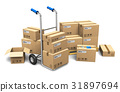 Cardboard boxes and hand truck 31897694