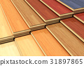 Set of color wooden laminated construction planks 31897865