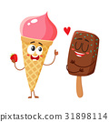 Two funny ice cream characters - strawberry cone 31898114
