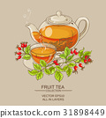 cup of wild rose hips tea and teaapot 31898449