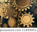 Golden gears abstract background.3D rendering. 31899001