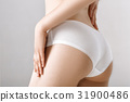woman's ass in white lingerie on grey background 31900486