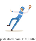 Baseball player in a blue uniform pitching vector 31900687