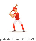 Baseball player in red uniform swinging with bat 31900690
