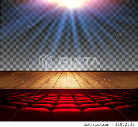 Theater wooden stage with a spotlight 31902335