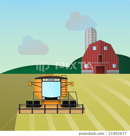Combine-harvester a vector illustration isolated 31902677