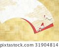 感覺總和的背景材料(扇子,鍍金,金魚) 31904814