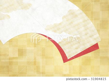 조화를 느끼는 배경 소재 (부채, 금박, 바둑판 무늬) 31904815
