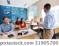 group of students and teacher with papers or tests 31905700