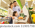 family weighing oranges on scale at grocery store 31905798