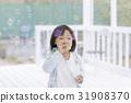 Girls blowing soap bubbles 31908370