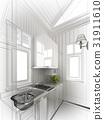 abstract sketch design of interior kitchen ,3d ren 31911610