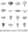 Vintage balloons icons set monochrome 31911682