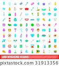 100 hygiene icons set, cartoon style 31913356