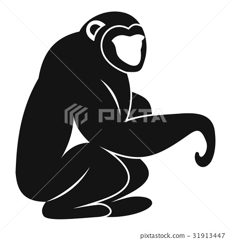 Monkey sitting icon, simple style 31913447