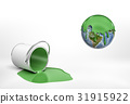 3d rendering of a overturned green paint bucket 31915922