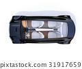Bird's eye view of metallic black color electric car 31917659