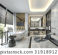 modern classic bathroom with luxury tile decor 31918912
