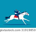 Businessman ride a horse.  31919850