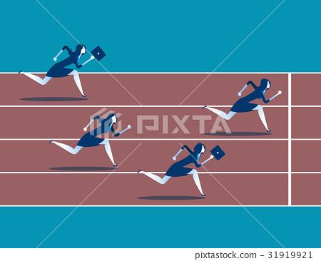 Business race. Businesswoman running 31919921