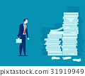Busy businessman. Man and pile of documents.  31919949