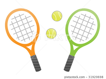 테니스 라켓과 공 (오렌지와 그린) 31920698