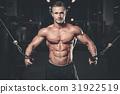 Brutal caucasian handsome fitness men on diet training chest pum 31922519