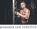 Brutal caucasian handsome fitness men on diet training triceps g 31922532