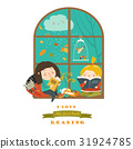 Cute girls reading book by the window 31924785