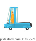 Retro blue cartoon pickup truck vector 31925571