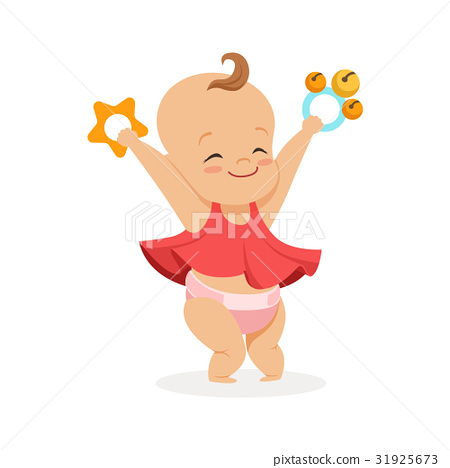 Cute smiling baby girl playing with rattles 31925673