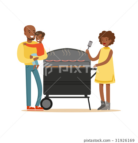 Young black woman grilling sausages on a grill for 31926169