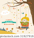 Cute girl swinging and reading a book in autumn 31927916
